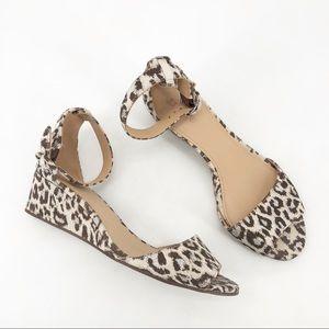 J crew Laila wedge animal print sandals